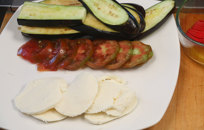 Grilled Eggplant with Mozzarellla