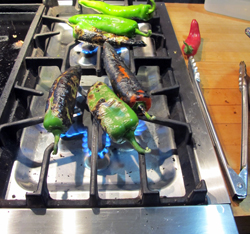 Roasting Anaheim chilies on the Stove-top.