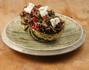 Stuffed Sweet Dumpling Squash with Pomegranates and Goat Cheese