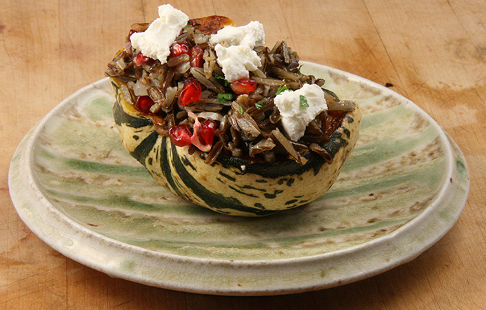 Stuffed Sweet Dumpling Squash with Pomegranate & Wild Rice