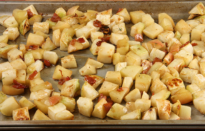 Maple Roasted Celeriac & Apples with Bacon