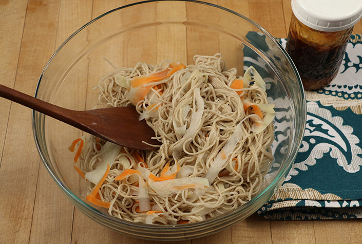 Quick Spicy Soba Noodles with Root Vegetables by Early Morning Farm CSA