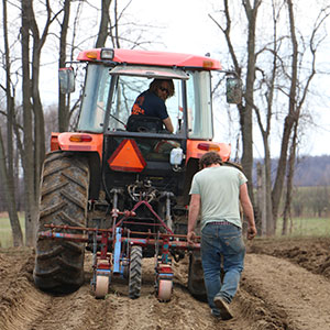 Chris and Nate planting Carrots with our Stanhay Seeders.
