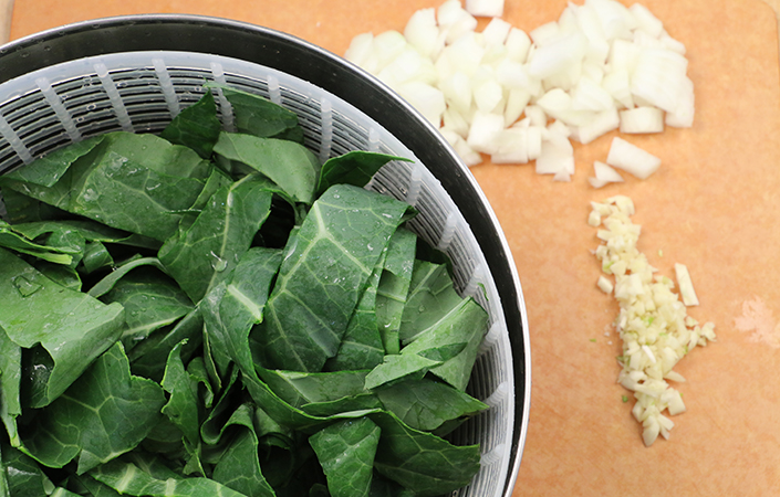 Stewed Collard Greens with Tomatoes by Early Morning Farm CSA