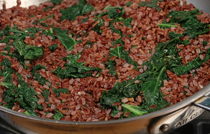 Red Fried Rice with Kale