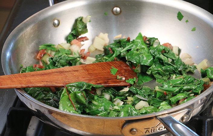 Sauted Swiss Chard with Cranberries & Pumpkin Seeds