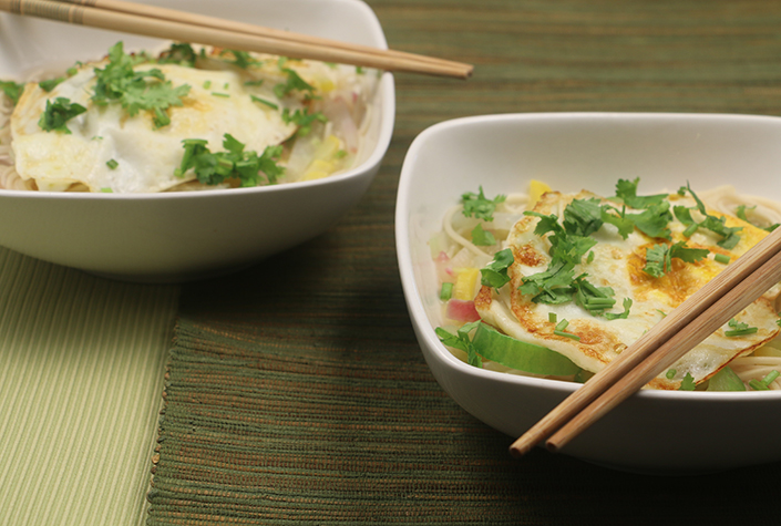 Summer Vegetable Miso Noodle Soup