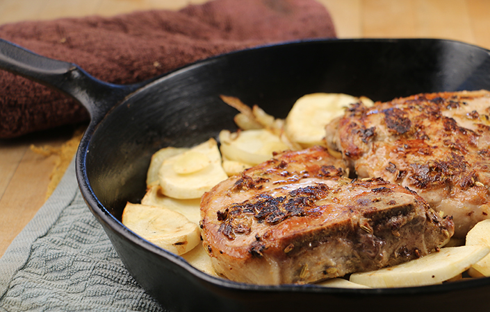 Fennel Crusted Pork Chops with Parsnips