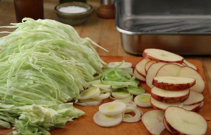 Baked Cabbage with Potato & Leeks