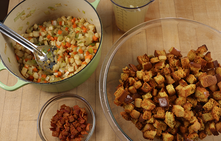 Cornbread Stuffing with Bacon & Leeks