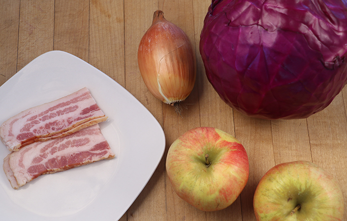 Braised Cabbage & Apples with Bacon