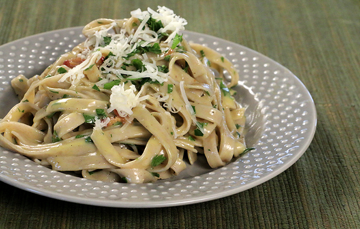Pasta Carbonara with Goat Cheese