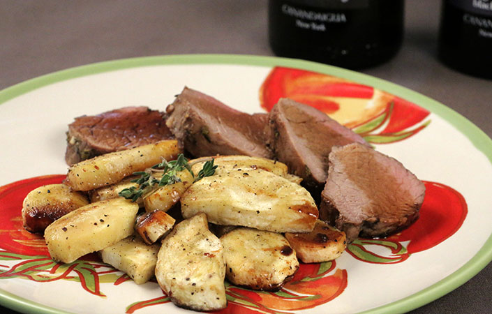 Balsamic Glazed Pork Tenderloin with Black Pepper Tarragon Parsnips
