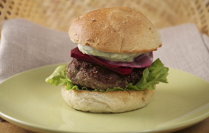 Lamb Burgers with Pickled Beets & Dill Aioli