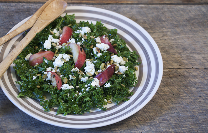 Massaged Kale Salad with Grilled Peaches