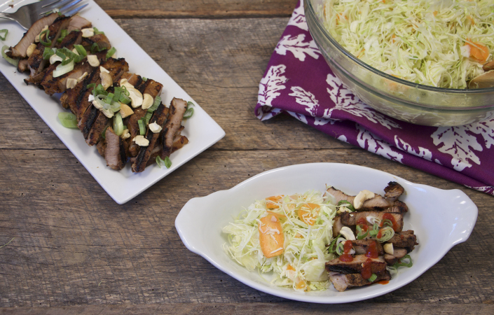Sriracha Grilled Pork with Fennel Slaw