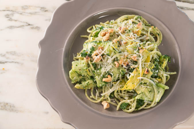 Summer Squash Noodles & Pasta with Arugula Pesto