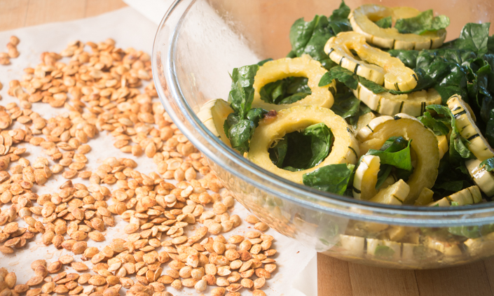 Delicata Squash Rings & Greens with Smoky Squash Seeds