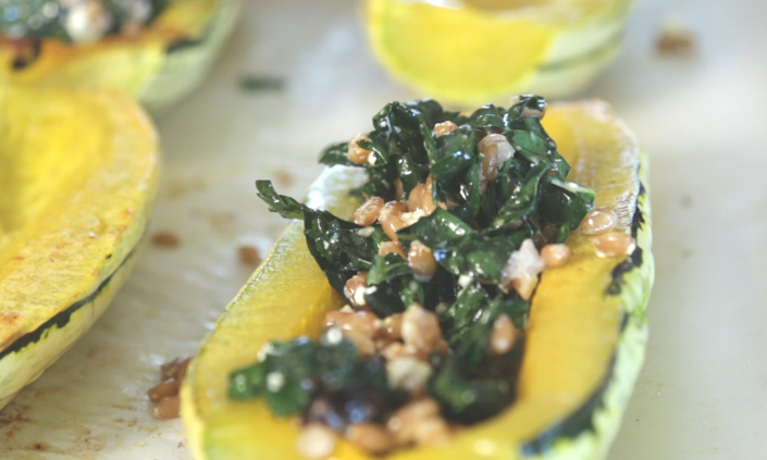 Stuffed Delicata Squash with Farro, Dried Cranberries, & Feta Cheese-2