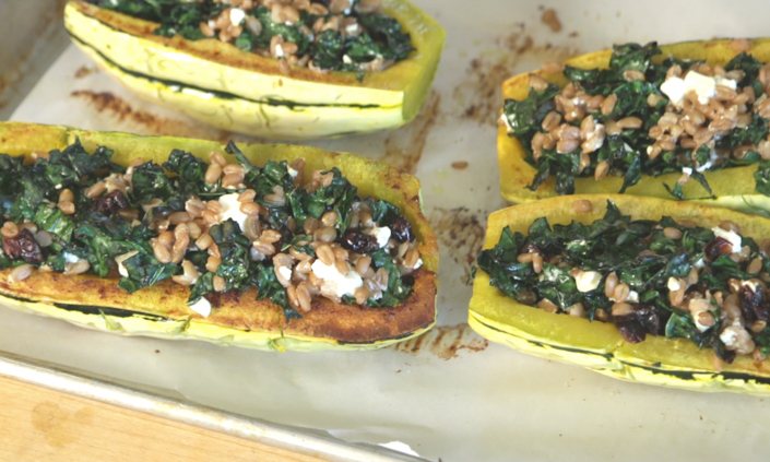 Stuffed Delicata Squash with Farro, Dried Cranberries, & Feta Cheese-4