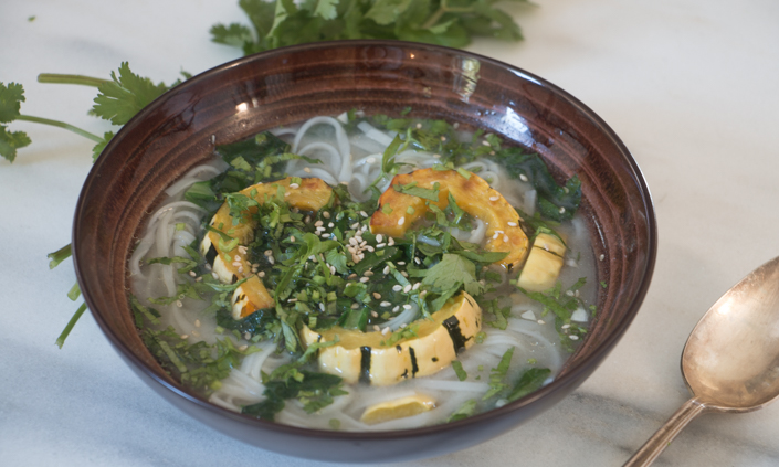 Miso Noodle Soup with Delicata Squash & Greens