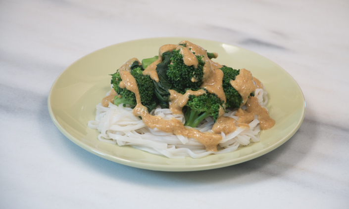 Rama Thai Noodles with Broccoli, Spinach, & Peanut Sauce