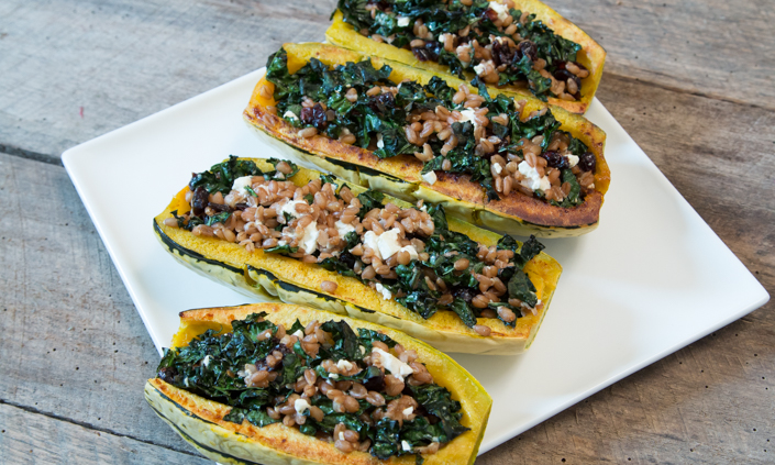 Stuffed Delicata Squash with Farro, Dried Cranberries, & Feta Cheese
