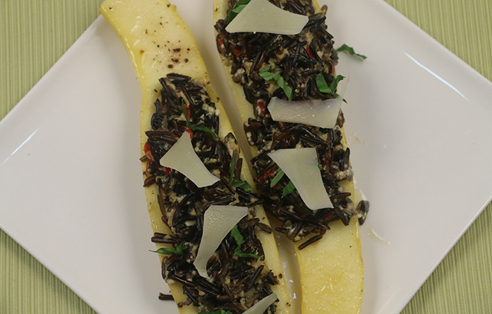 Wild Rice Stuffed Summer Squash