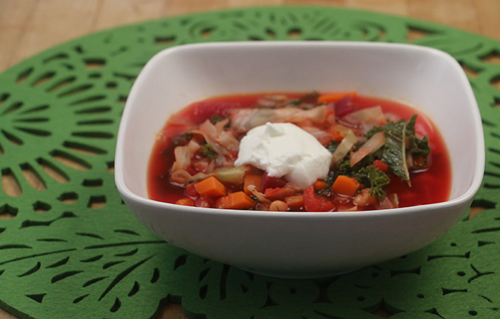 Vegetarian Borscht with Greens