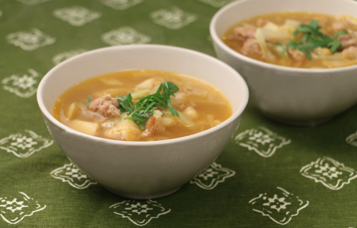Celeriac Cabbage Soup with Chickpeas & Sausage