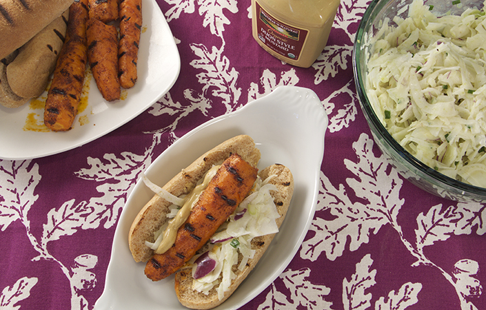 Carrot Hot Dogs & Fennel Pepper Slaw with Buttermilk Dressing