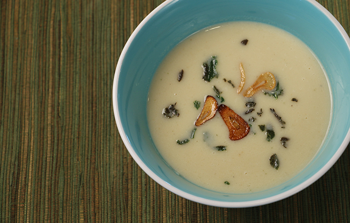 Celeriac & White Bean Soup with Frizzled Sage