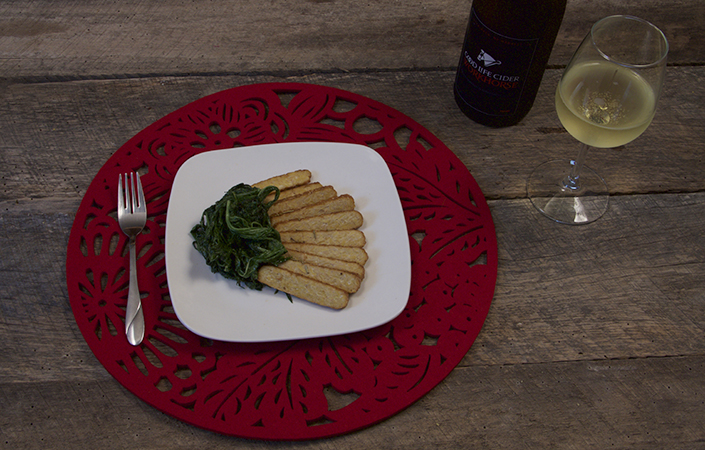 Cider Marinated Tempeh with Wilted Greens