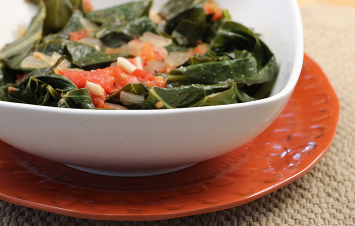 Stewed Collard Greens with Tomatoes