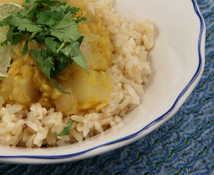 Daikon Curry with Coconut Brown Rice