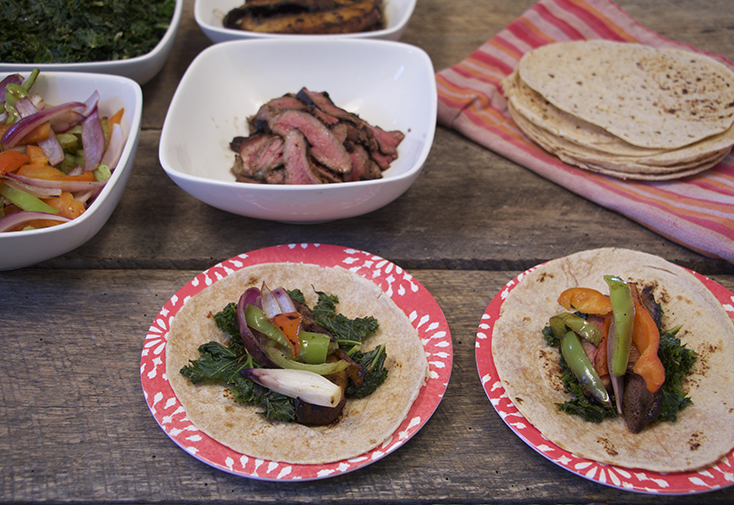Easy Fajitas with Cumin Scented Kale