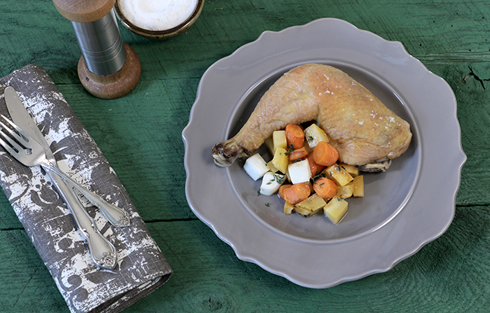 Flat Roasted Chicken with CSA Vegetables