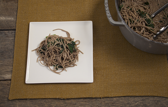 Mustard Greens & Soba Noodles in Miso Dressing