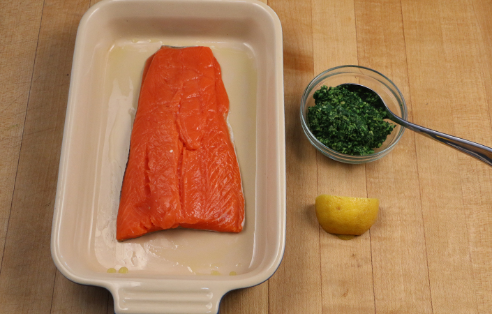 Salmon with Kale Pesto
