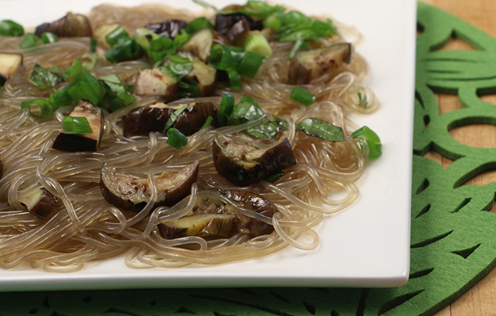 Sesame Noodles with Grilled Eggplant