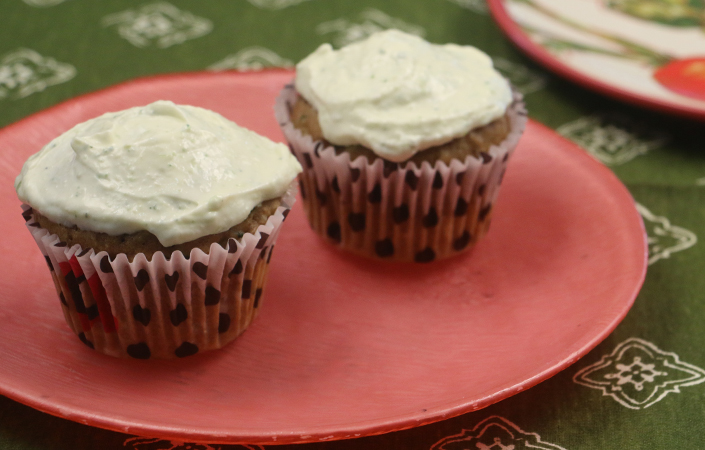Zucchini Cupcakes with Lime Cream Cheese Frosting